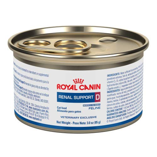 Royal Canin Veterinary Diet Feline Renal Support D Morsels In Gravy Canned Cat Food, 3.0 oz (Pack of 24)
