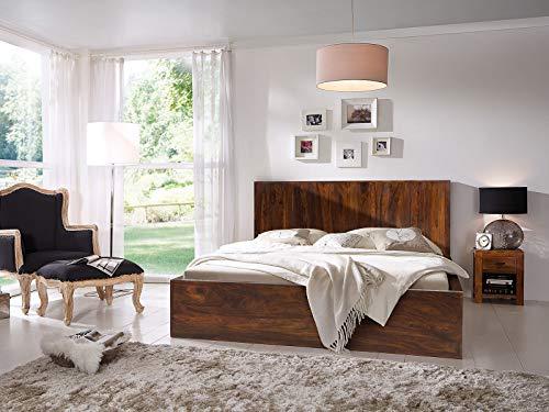 Woodkings® Holzbett 180x200 Palison Doppelbett Palisander-Holz braun rustikal Schlafzimmer Massivholz Design Ehebett Balkenbett Naturmöbel Echtholzmöbel