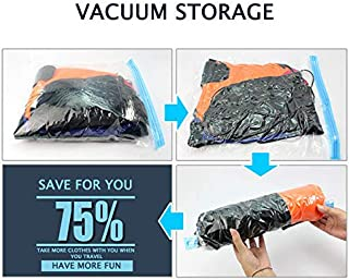 Eutuxia Roll-Up Sealer Bags for Clothes, Towels, Pillow & Blanket - Set of 3 - Perfect Storage Saver for Suitcases Space, Traveling, Moving & More - BPA Free, No Vacuum Required