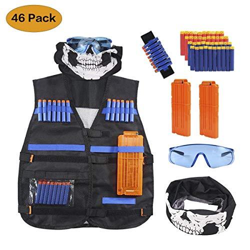 OFUN Taktische Weste für Kinder 46pcs, Taktische Jacke Set für Nerf Guns N-Strike Elite mit 40Pcs Darts Bullets + 1 Brille & Gesichtsschutz für Ner