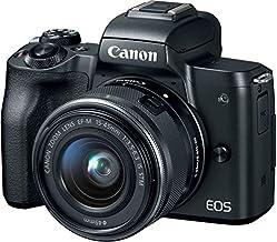 Canon EOS M50 - Cámara de vídeo digital sin espejo con lente EF-M15-1.772in y objetivos EF-M de 2.165-7.874in con pantalla LCD táctil y vídeo 4K, color negro