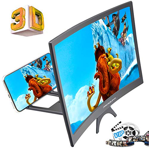 "DRIDOUAM 12"" 3D&HD Curved Phone Screen Magnifier HD Amplifier Projector Magnifing Screen Enlarger for Movies, Videos, and Gaming with Foldable Stand Compatible with All Smartphones"