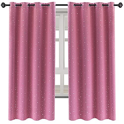 NAPEARL Cortinas para habitación infantil, estilo romántico, opacas con estrellas plateadas, 2 unidades para habitación infantil con ojales (2 x 160 x 132 cm, color rosa)