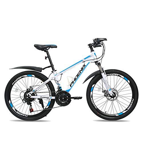 FUFU Mountain Bike, 24 Pollici 21-velocità Full Suspension Bicicletta □□ Freni A Disco Doppio Gears Mountain Biciclette, 3 Colori (Color : A)
