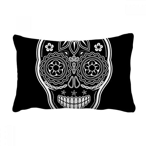 DIYthinker Almofada branca preta do México Dia dos Mortos Capa de almofada para decoração de casa