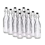 Chef's Star Glass Swing Top Beer Bottles, 1 Litter 32 oz, Flip Top Brewing Bottles, For Kombucha, Juice, Water, Case of 12 (Modern Linear Design)