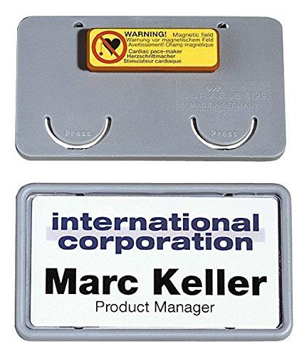 Durable 812910 Namensschild Clip-Card mit Magnet (40 x 75 mm) Packung à 25 Stück grau