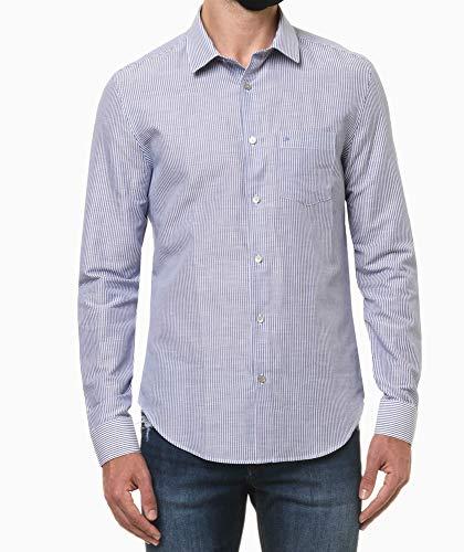 Camisa social Slim com bolso, Calvin Klein, Masculino, Azul Royal, 6