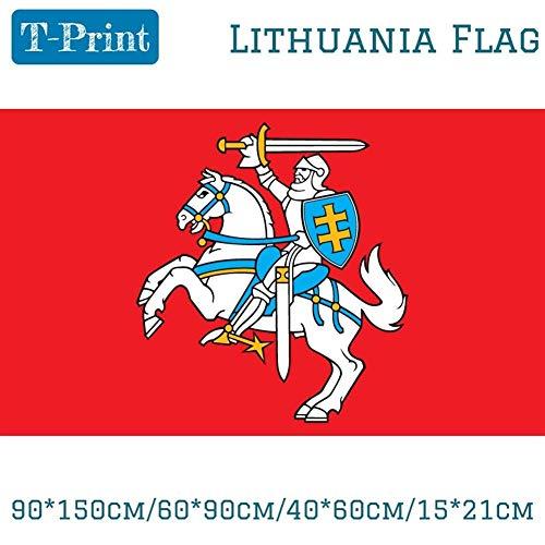 VIVIANE Bandera de Lituania, 90 * 150 cm / 60 * 90 cm / 40 * 60 cm, 15 * 21 Cm, Bandera de poliéster, Que cuelga de la Bandera al Aire Libre (Color : LTWJ, Tamaño : 60 x 90 cm)