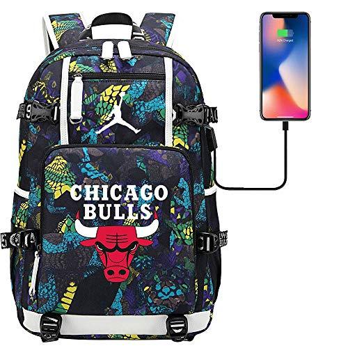 GXB Mochila Deportiva Multifuncional Baloncesto Fan Schoolbag Travel Rucksack NBA Chicago Bulls No. 23 Michael Jordan Estilo C