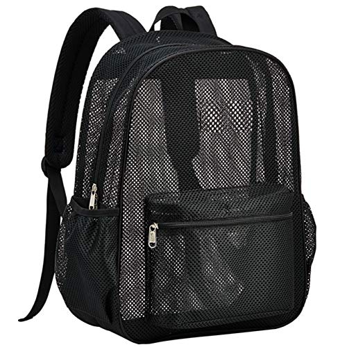 Heavy Duty Semi-Transparent Mesh Backpack, See Through College Student Backpack with Padded Shoulder...