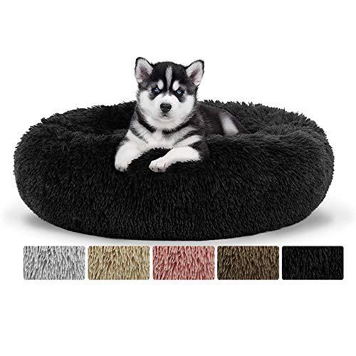 Donut Hundebett, Premium Orthopädisches Haustierbett für große und extra große Hunde, Wasserfeste Unterseite, Haustierbett Hundebett Katzenbett Rund Weich - Schwarz Ø 120cm