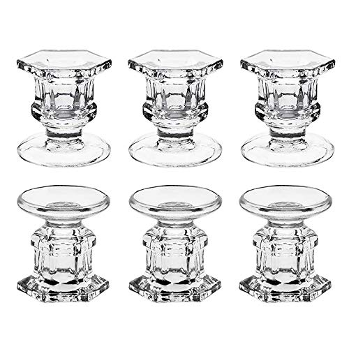 Cavis 6 Pack Glass Candle Holders Clear Candlestick Holders Fit 1.85Inch Pillar or 7/8Inch Taper Candle for Table
