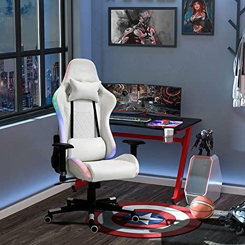 Sillas De Oficina Silla para Juegos con Luz Led RGB, Brazo, Eslabón Giratorio para Oficina En Casa, Reclinable para Jugadores, Cómodo Y Suave