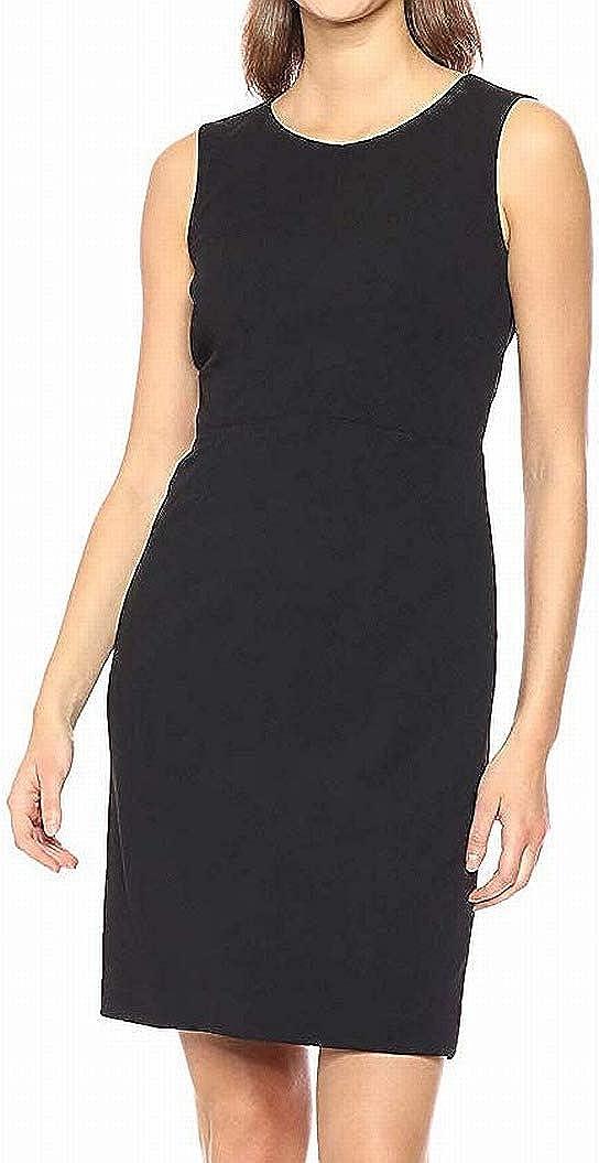 Kasper Women's Jewel Neck Drapey Crepe Sheath Dress