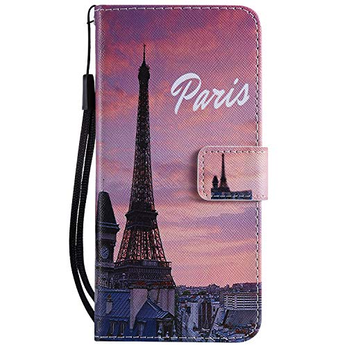 Yiizy Huawei P8 Lite Huawei ALE-L21 Coque Etui, Tour Eiffel Design Flip PU Cuir Cover Couverture Coquille Portefeuille Housse Média Fente pour Carte Protecteur Skin Poche
