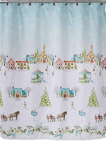 Winter Wonderland Hometown Holiday Village Christmas Shower Curtain & Hook Set