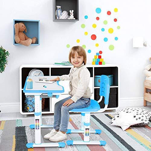 Cocoarm Kinderschreibtisch Höhenverstellbare Kinder Schreibtisch und Stuhlset Multifunktionaler Schülerschreibtisch Kinderstudientisch und Stuhlset Kinderschreibtisch und Stuhlset (Blau)