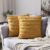 MIULEE Set of 2 Decorative Boho Throw Pillow Covers Cotton Linen Striped Jacquard Pattern ...
