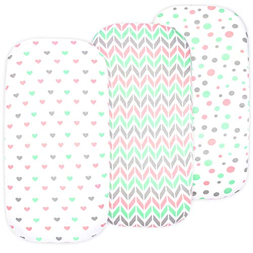 Baby Bassinet Sheet Set for Boy and Girl, 3 Pack, Universal Fitted for Oval, Hourglass & Rectangle Bassinet Mattress, Fitted Sheets Size 32 x 16 x 4 Inches, Pink Hearts
