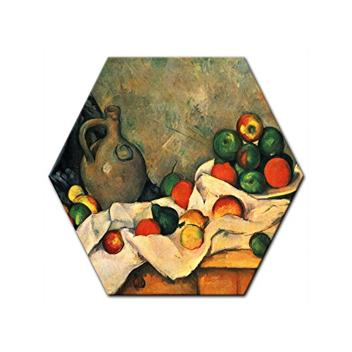 Wandbild Paul Cézanne Stillleben mit Vorhang, Krug und Obstschale - 60 cm Sechseck - Alte Meister Berühmte Gemälde Leinwandbild Kunstdruck Bild auf Leinwand