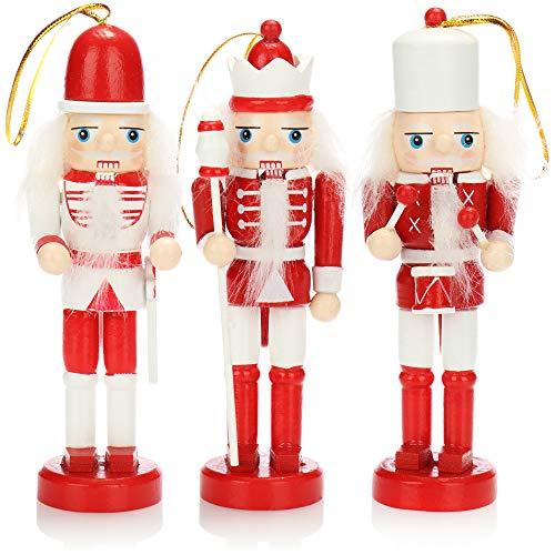 com-four® 3X Anhänger Nussknacker, Weihnachtsbaumanhänger in Form eines traditionellen Nussknackers, Verschiedene Designs, Höhe 12 cm (rot/weiß)