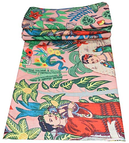 Tela de algodón indio tradicional con impresión de Frida Kahlo para hacer vestidos de running por The 5 yardas