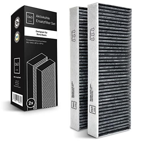 D&D Living Aktivkohlefilter passend für Bora Basic Filter BAKFS | Aktivkohlefilterset mit 2 Stück hochwertigen Kohlefilter für Kochfeld BIU BHU BFIU BAKF