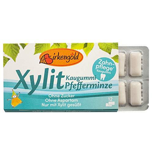 Birkengold Xylit Kaugummi Pfefferminze | Zahnpflege-Kaugummi | zuckerfrei | 70 % Xylit | vegan | ohne Titandioxid