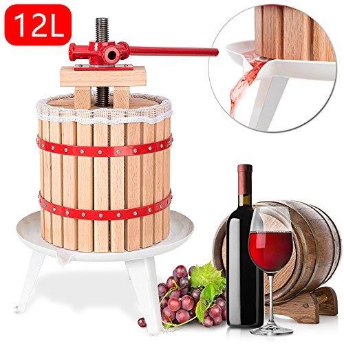 Hengda® 12 Liter Obstpresse Presse Apfelpresse Beerenpresse Obstpresse SaftMaischepresse Weinpresse mit Presstuch