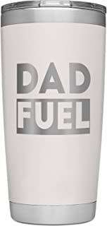SassyCups Dad Fuel Tumbler | 20 Ounce Engraved Light Tan Stainless Steel Insulated Travel Mug | Funny Happy Birthday New Dad Tumbler | Worlds Best Dad From Kids | Best Dad Bday | Dad Outdoor BBQ