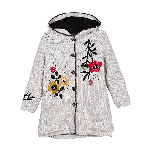 Catimini Mädchen MANT. Tricot FL Mantel, Grau (Craie 12), 6 Jahre (Hersteller Größe: 6A)