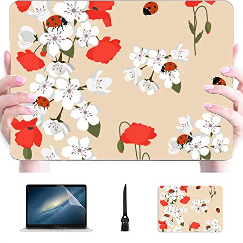 4 in 1 Laptop Case for MacBook 13' Air No Touch ID 2010-2017 A1466/A1369 Case,Plastic Hard Shell Case Cover and Mouse Pad & Screen Protector,Blooming Sakura Poppies