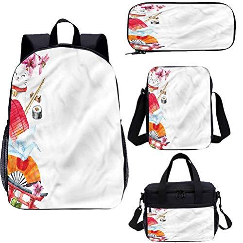 Japón 17 pulgadas mochila con bolsa de almuerzo conjunto de estuche, origami Sakura Sushi linterna 4 en 1 conjuntos de mochila