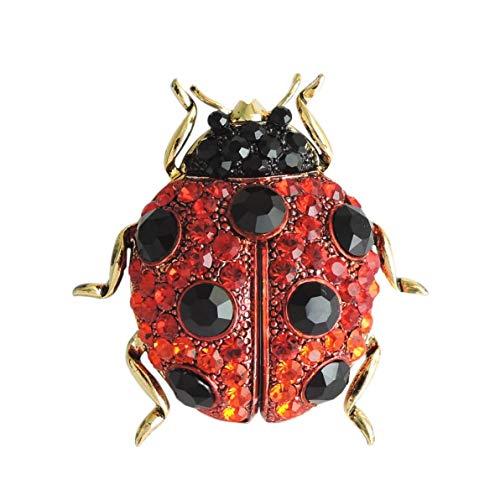 スワロフスキー 昆虫 ブローチ てんとう虫 てんとうむし テントウムシ (LL)/ レッド 赤
