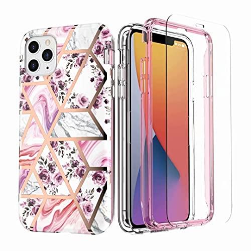 Funda para iPhone 11 con protector de pantalla integrado, doble capa a prueba de golpes, delgada, anti-amarilla, cubierta suave TPU parachoques único elegante patrón de mármol para iPhone 11 Flowre