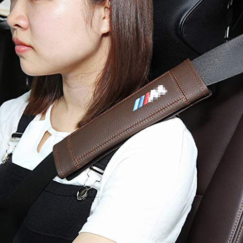 Lxxzz Car Seat Belt Cover Shoulder Pads, 2-Pack 11 inch, Suitable for BMW X1,X5 Genuine Leather Protection Shoulders Comfort Padding Guard Safety Clip