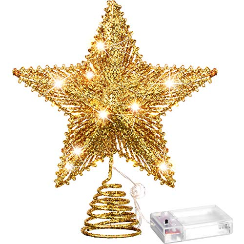 Aoriher 20 Light 10 Inch Christmas Tree Topper LED Star-Shaped Tree Topper with Warm White LED Lights for Christmas Holiday Seasonal Decor (Golden)