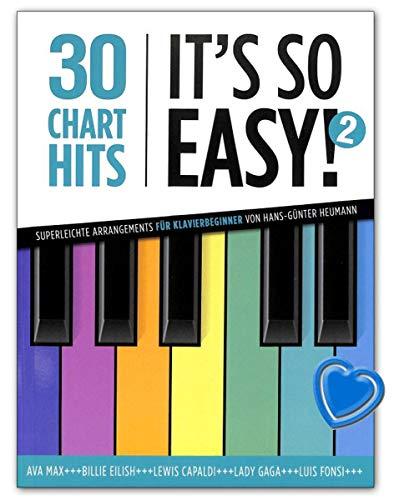30 Charthits - It's so easy! 2 - für Klavier (mit Texten und Akkorden) - Notenbuch mit bunter herzförmiger Notenklammer - BOE7984 9783954562558