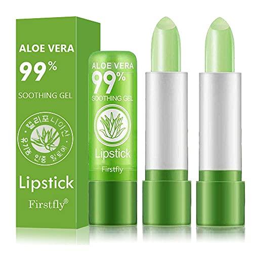 2 Pack Aloe Vera Lipstick, Firstfly Long Lasting Nutritious Lip Balm Lips Moisturizer Magic Temperature Color Change Lip Gloss (Green)
