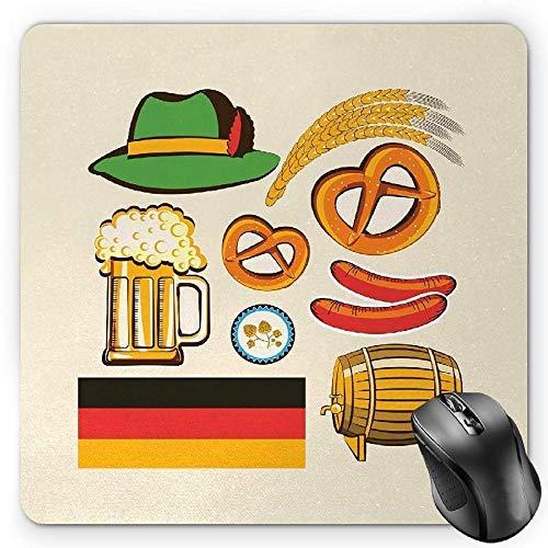 Alfombrilla de ratón Alemana, símbolos de la Oktoberfest Cerveza de Trigo y Pretzels Arreglo bávaro Colorido, Alfombrilla de Goma Rectangular Antideslizante 25X30CM