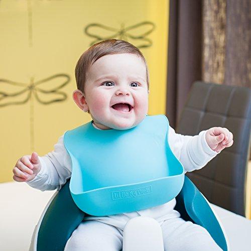 Bavoir en silicone - Bavoir bébé - Bavoirs en silicone - Super Doux, EN SILICONE réutilisable...