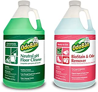 OdoBan Professional Cleaning and Odor Control Solutions, 1 Gal Each Neutral pH Floor Cleaner and Biostain and Odor Remover