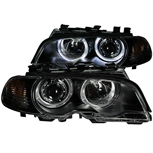 Anzo 121269 PROJECTOR HEADLIGHTS BLACK CLEAR HALO w/ CORNER LIGHTS for BMW 3 SERIES E46 2DR 00-03 / M3 01-04
