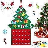 Calendario de Adviento HOSPAOP para rellenar, de fieltro, calendario de Navidad con 24 adornos de Navidad, calendario de cuenta atrás para decoración de Navidad, árbol rojo para niños, niñas, hombres