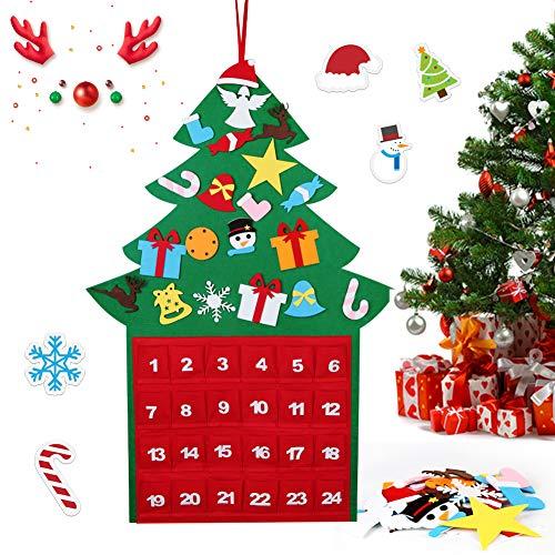HOSPAOP Filz Weihnachtsbaum Adventskalender, Adventskalender Zum Befüllen mit 24 Stück DIY Filz Weihnachtsbaum als Geschenk-Kalender