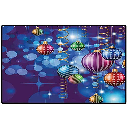 Christmas Outdoor Rugs Happy New Year Party Celebrations with Swirling Ornaments and Balls Festive Print Door Mat for Kitchen Farmhouse Bathroom Entryway Carpet