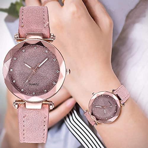 Luxus Strass Uhren, Quarzuhr Edelstahl Zifferblatt Casual Armband Armbanduhr Weihnachten Neujahr Geschenk (Rosa)
