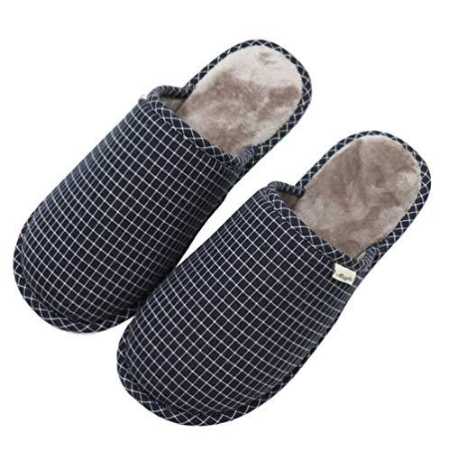 B/H Zapatilla casa Mujer,Zapatillas de casa de algodón de Talla Grande para Hombre para otoño e Invierno, Zapatos cómodos Antideslizantes para Interiores y Exteriores.-Azul_44