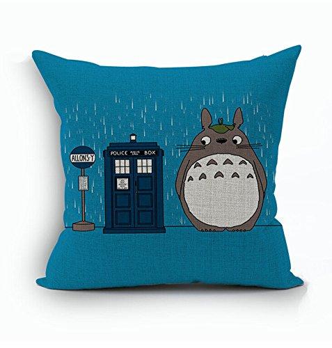 Memorecool cute Cartoon Totoro federa del Giappone Hayao Miyazaki Totoro cotone e canapa divano cuscino copertura del cuscino, Cotone, 2, 45 x 45 cm